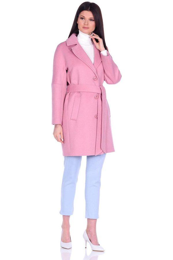 Женское демисезонное пальто hr-018 розового цвета