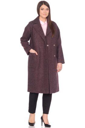Женское демисезонное пальто hr-002 сливовое фото-1