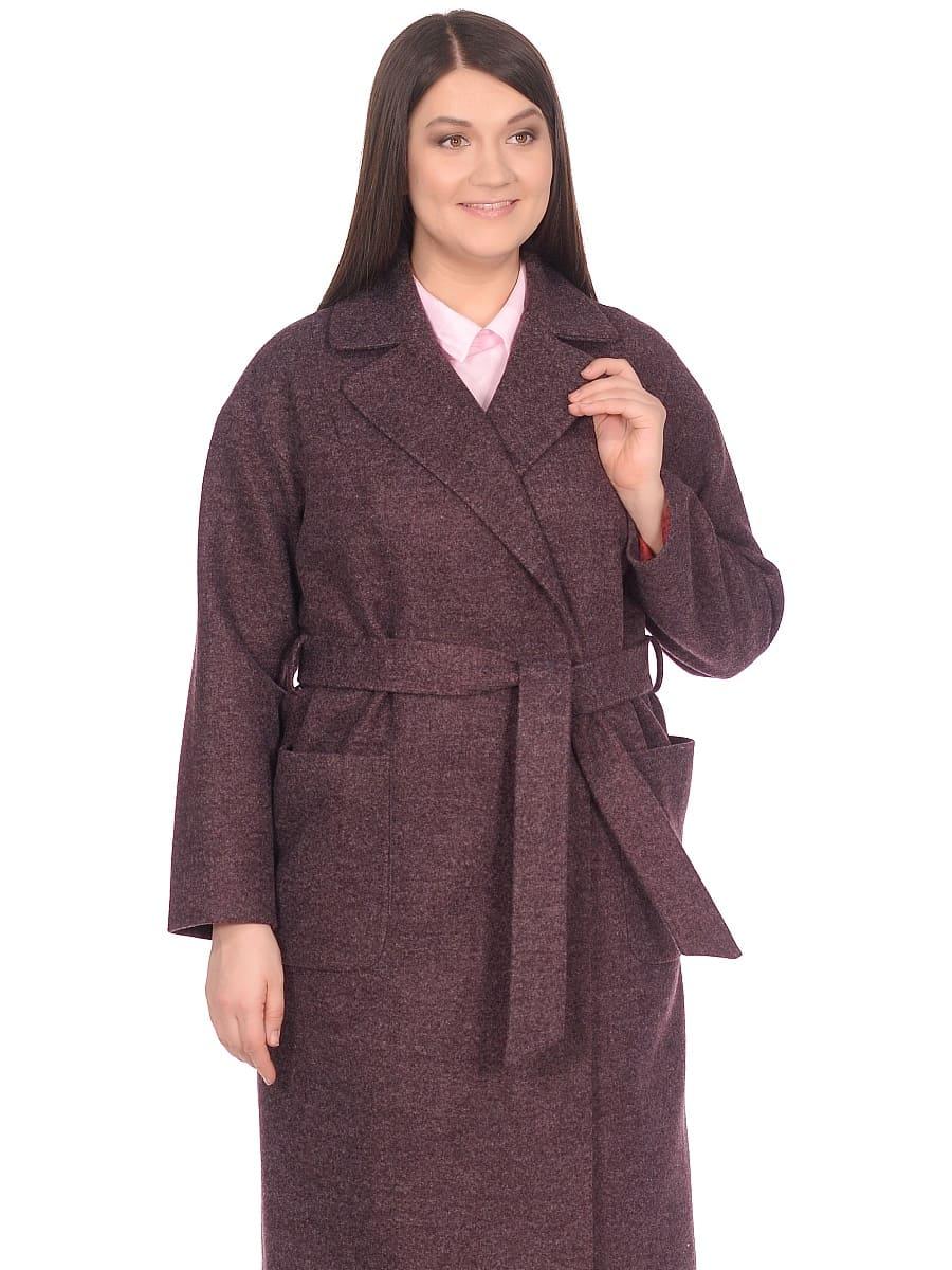 Женское демисезонное пальто hr-002 сливовое фото-2