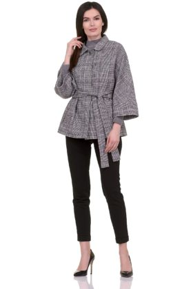 Женское демисезонное пальто hr-017 серое фото-1