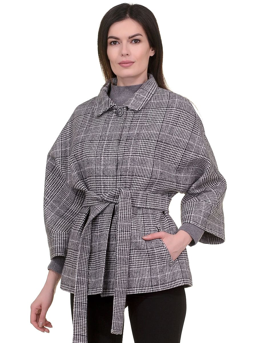 Женское демисезонное пальто hr-017 серое фото-2