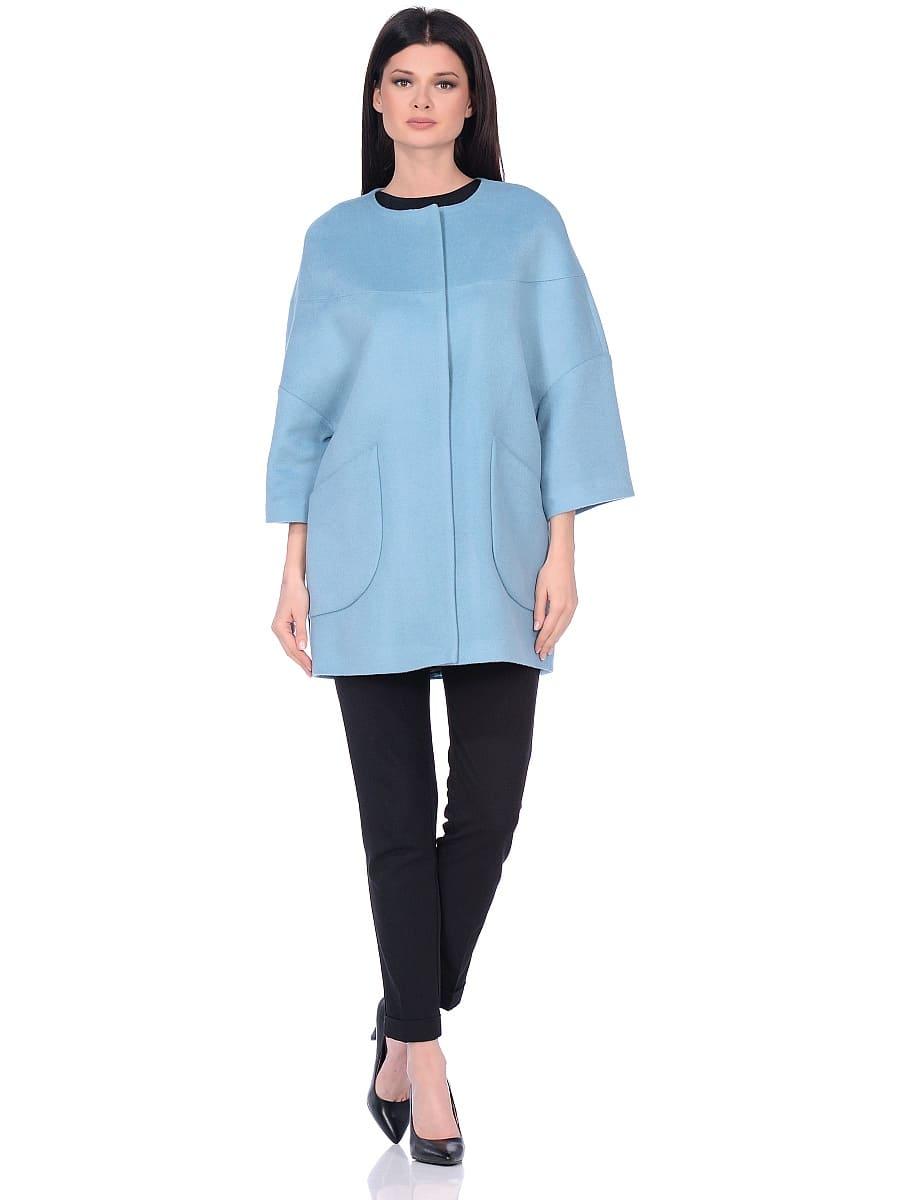 Женское демисезонное пальто hr-019 голубое фото-1