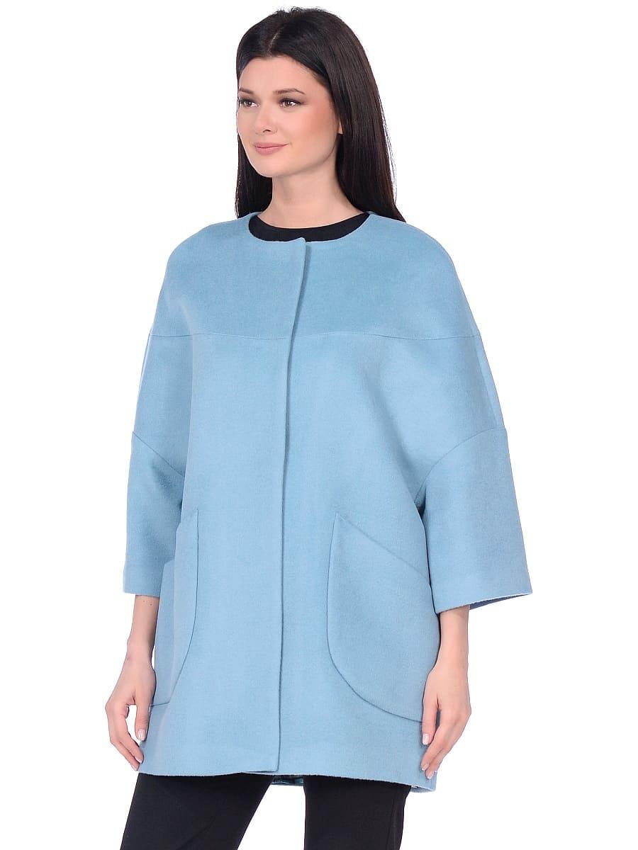 Женское демисезонное пальто hr-019 голубое фото-2