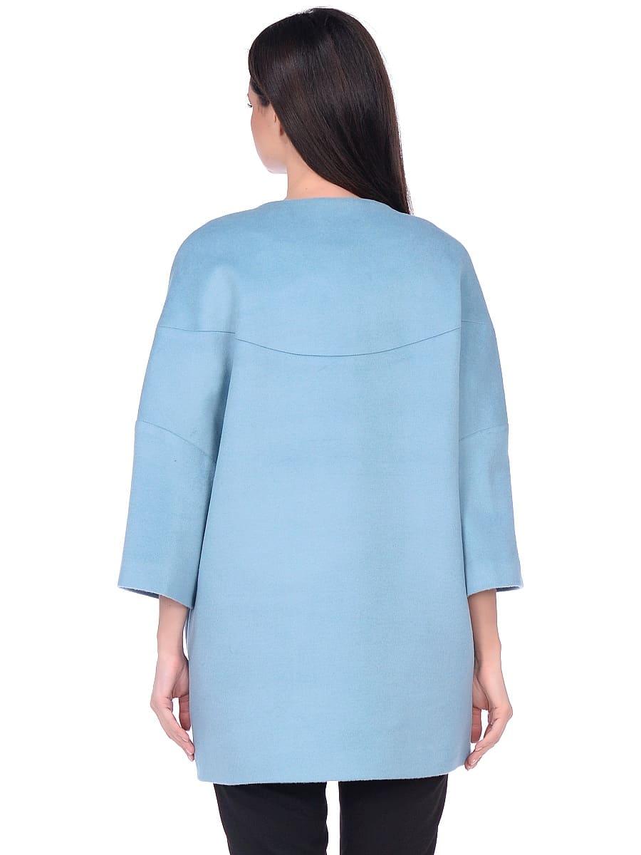 Женское демисезонное пальто hr-019 голубое фото-3