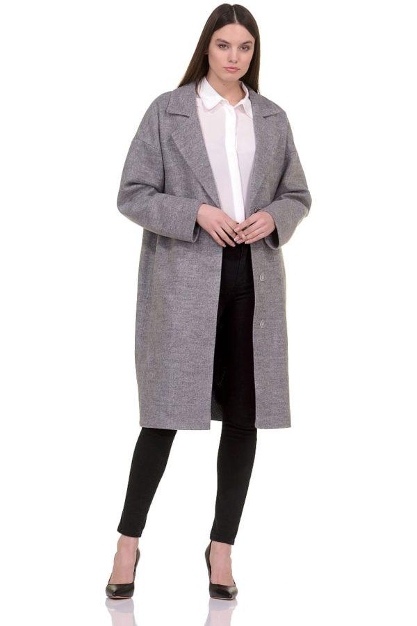 Женское демисезонное пальто hr-001b серое фото-1