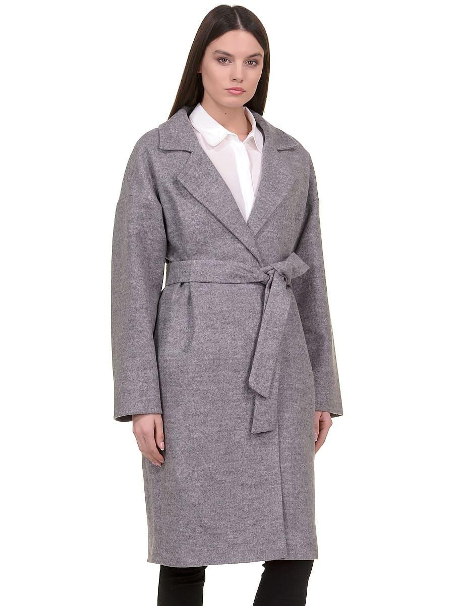 Женское демисезонное пальто hr-001b серое фото-2