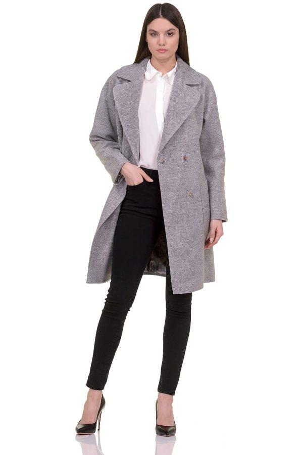 Женское демисезонное пальто hr-020 светло-серое фото-1