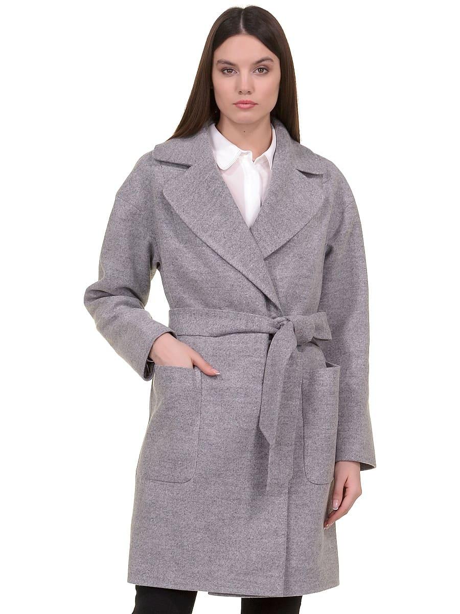Женское демисезонное пальто hr-020 светло-серое фото-2