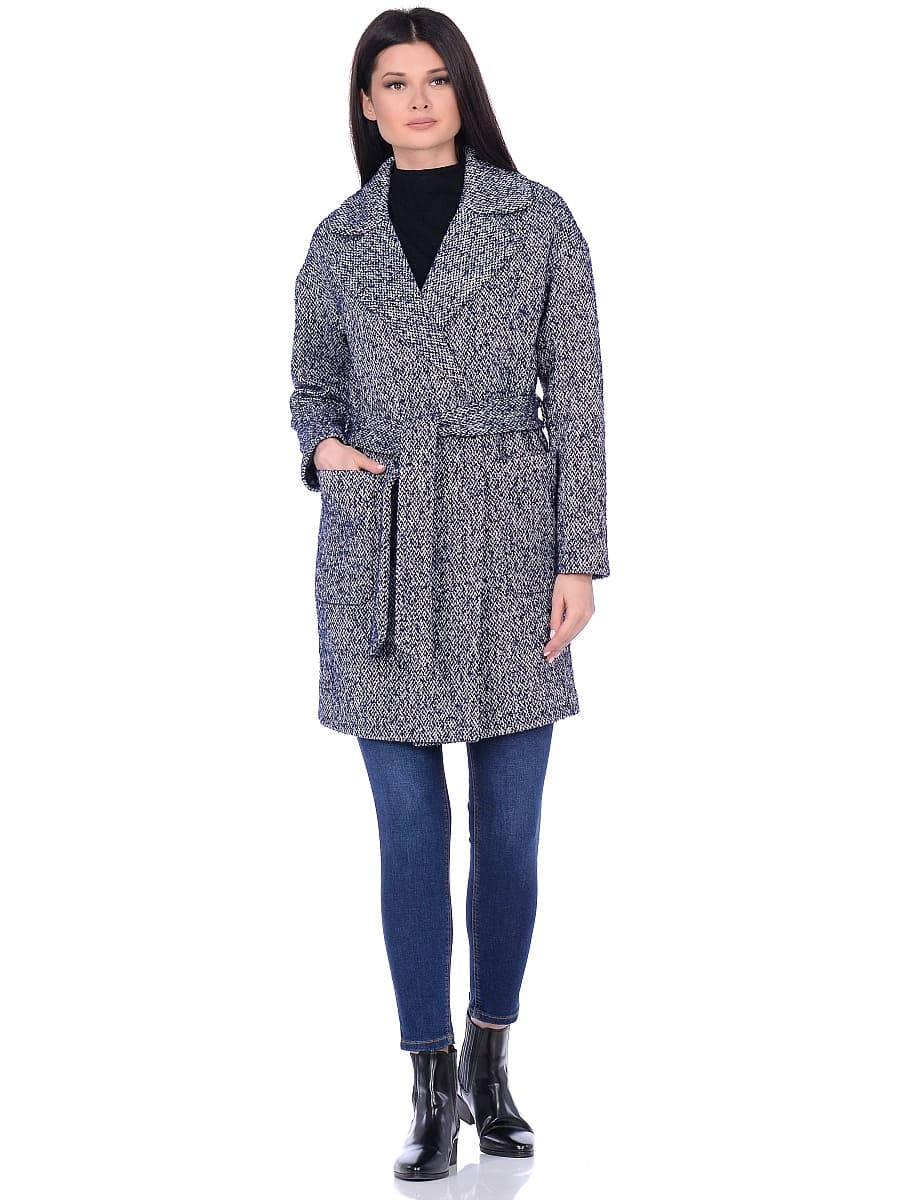 Женское демисезонное пальто hr-020a синее фото-1