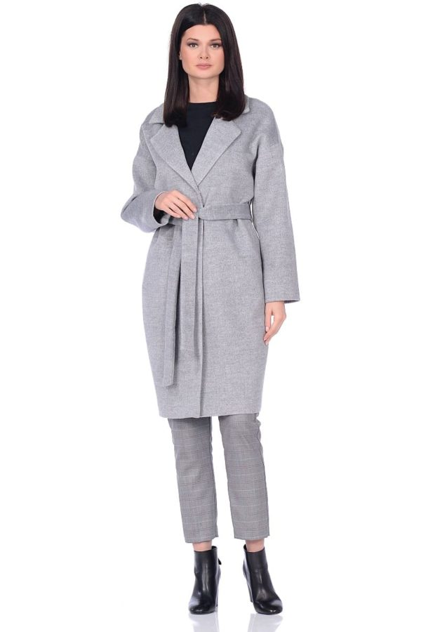 Женское демисезонное пальто hr-001a серое фото-1