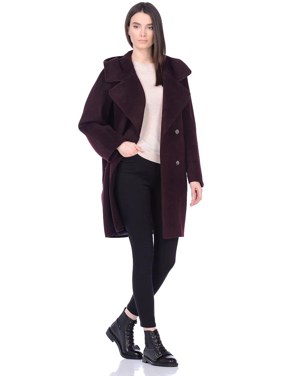 Женское демисезонное пальто hr-004 вишневое фото-1