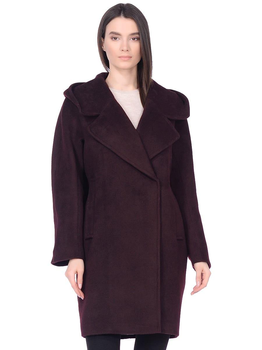 Женское демисезонное пальто hr-004 вишневое фото-2