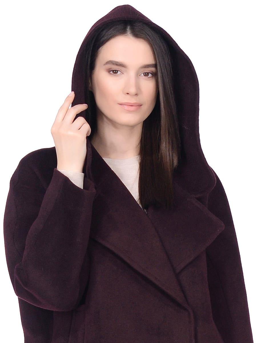 Женское демисезонное пальто hr-004 вишневое фото-4