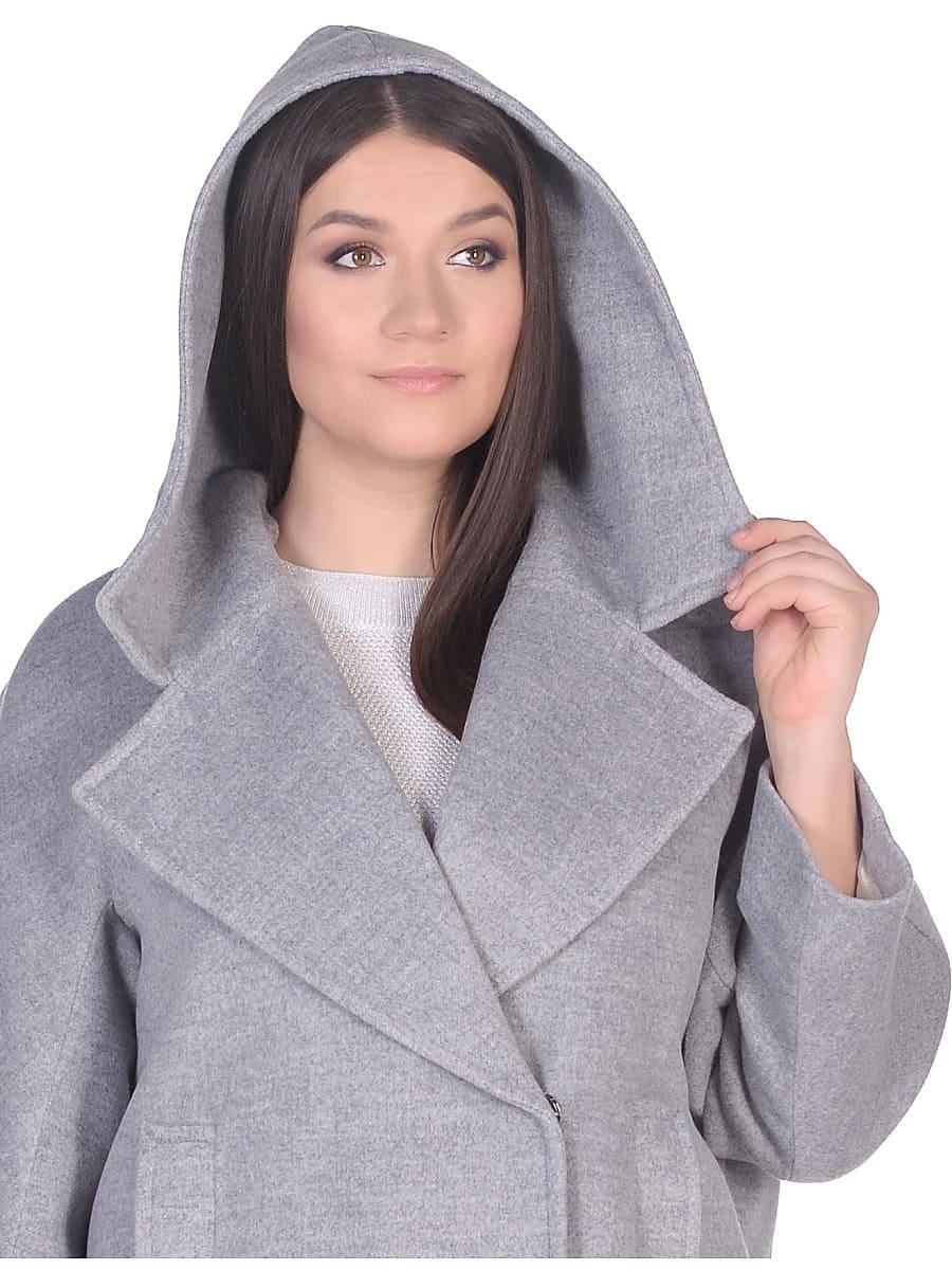 Женское демисезонное пальто hr-004 серое фото-4