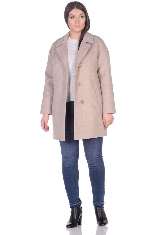 Женское демисезонное пальто hr-005 светло-бежевое фото-1