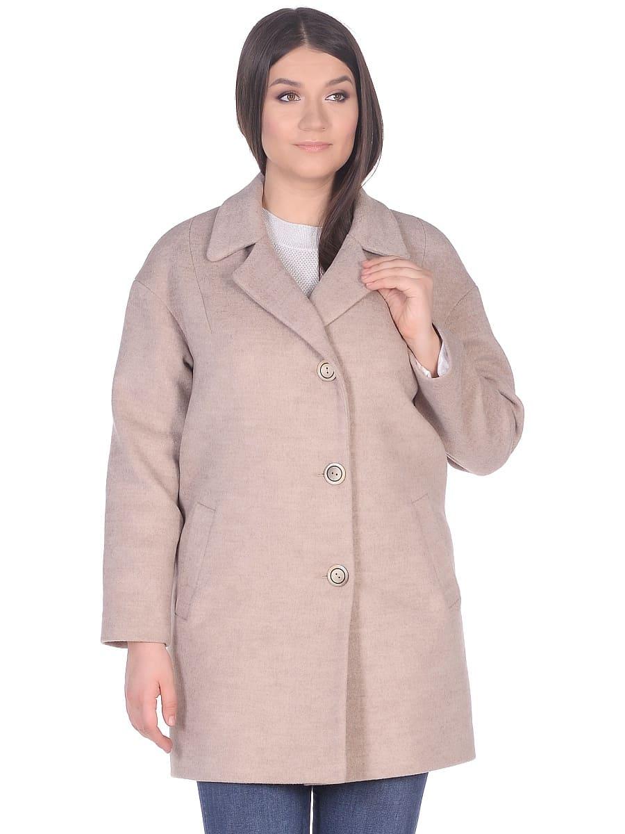 Женское демисезонное пальто hr-005 светло-бежевое фото-2