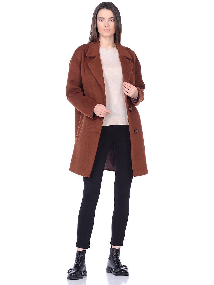 Женское демисезонное пальто hr-005 терракотовое фото-1
