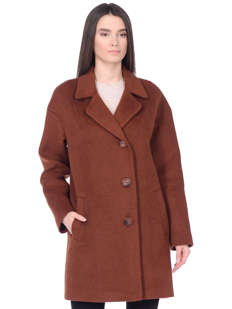 Женское демисезонное пальто hr-005 терракотовое фото-2
