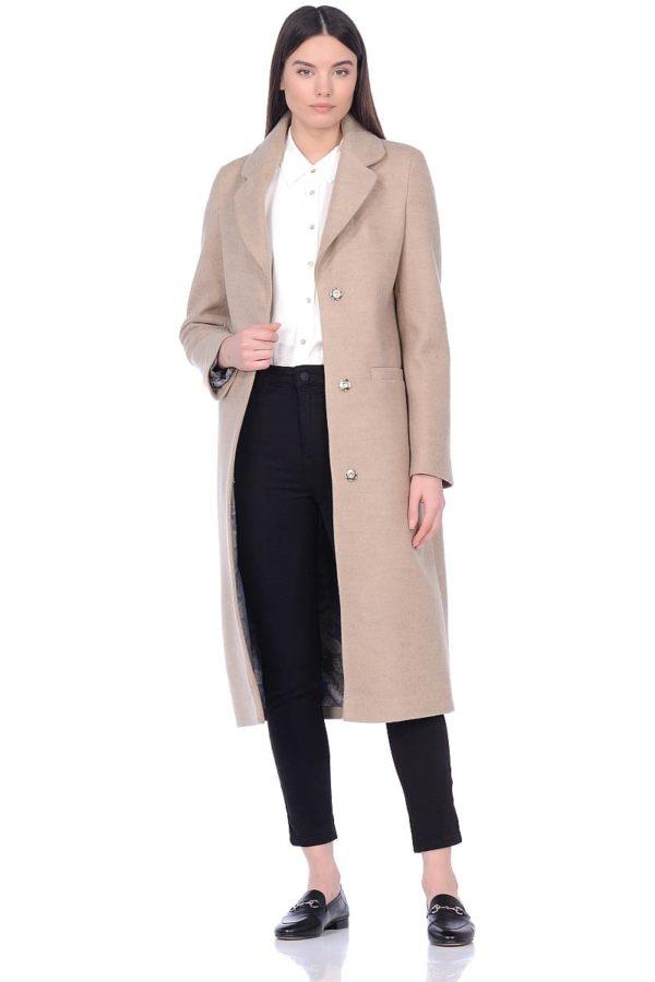 Женское демисезонное пальто hr-007 бежевое фото-1