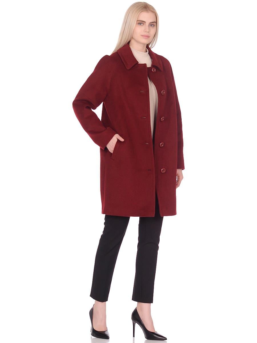 Женское демисезонное пальто hr-010 бордовое фото-1