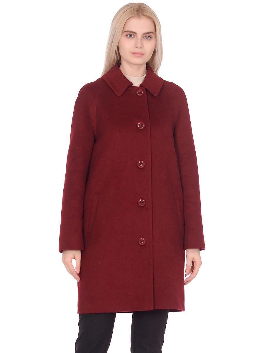 Женское демисезонное пальто hr-010 бордовое фото-2