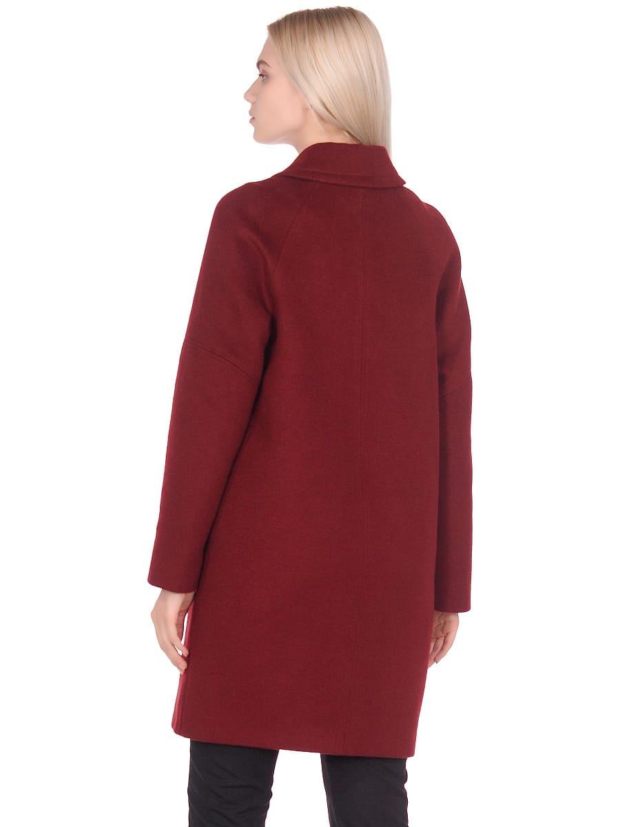Женское демисезонное пальто hr-010 бордовое фото-3