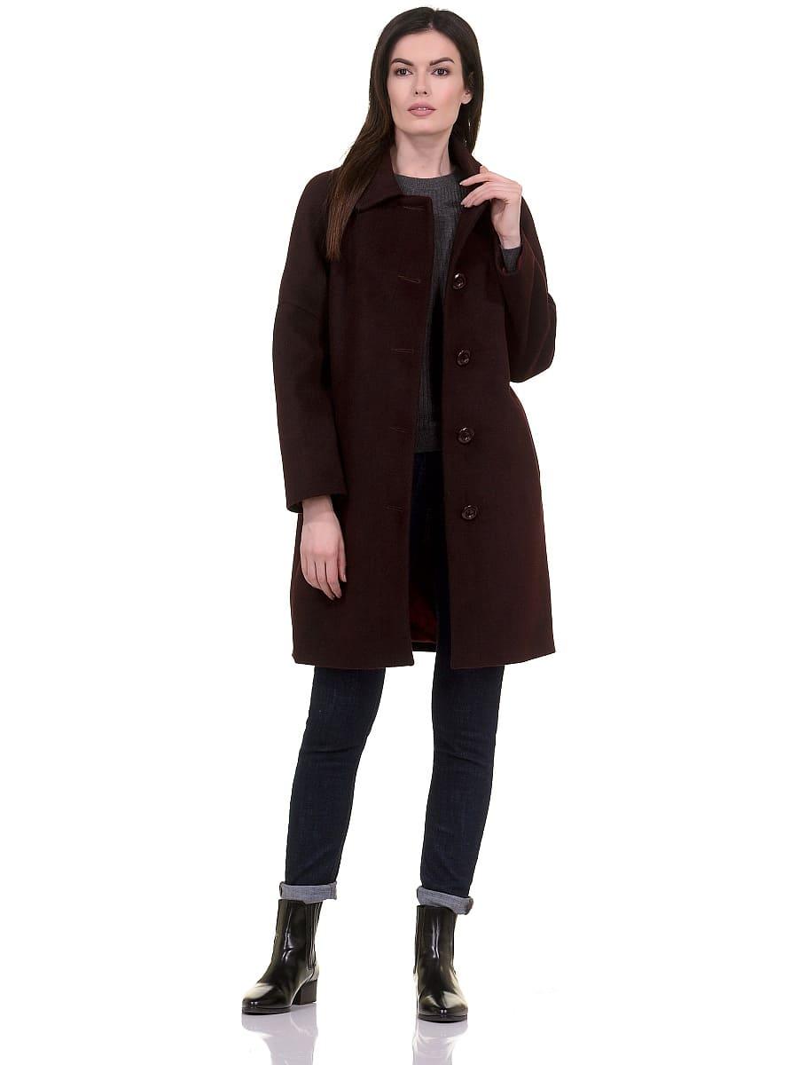 Женское демисезонное пальто hr-010 вишневое фото-1