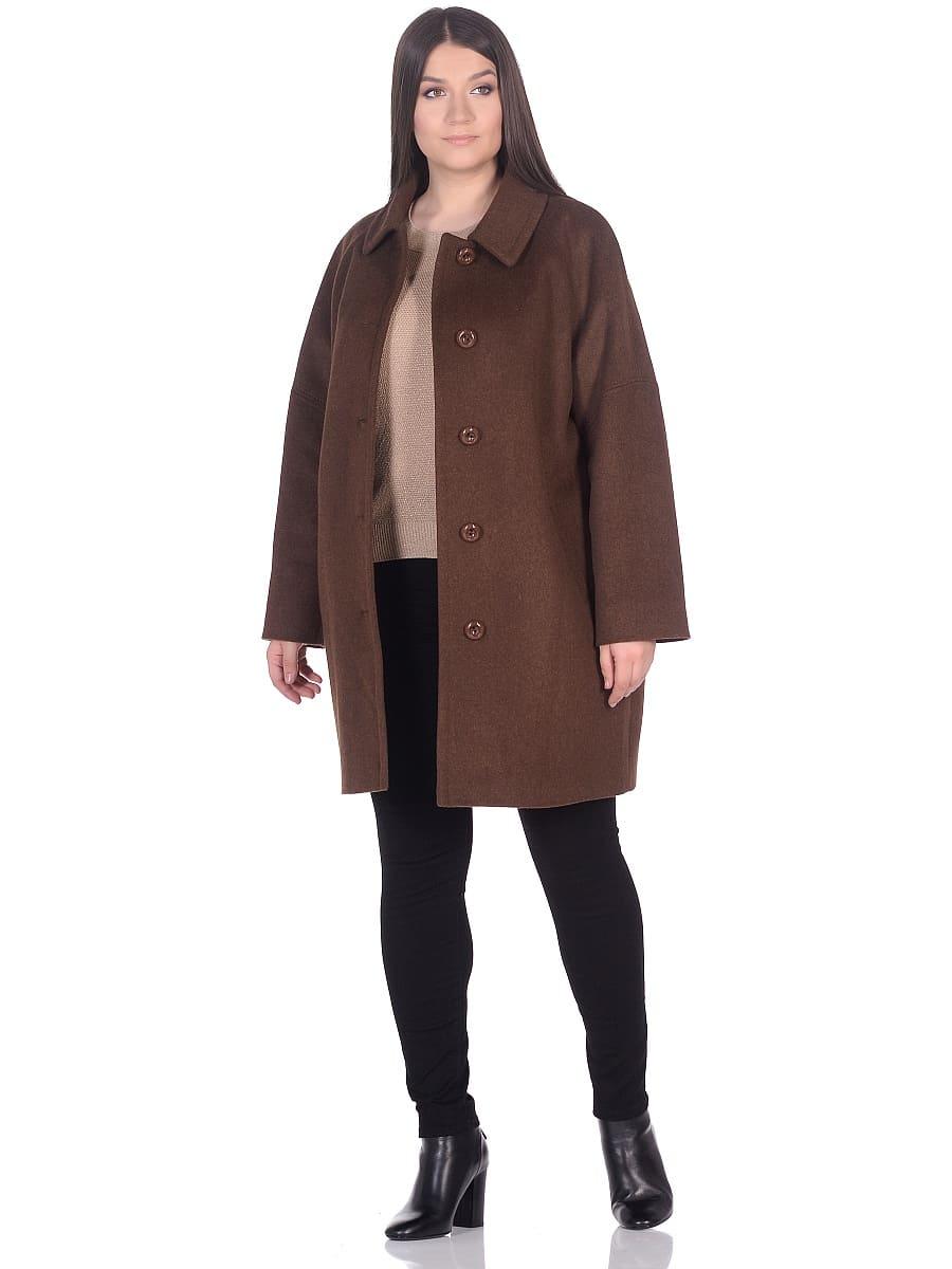 Женское демисезонное пальто hr-010 коричневое фото-1