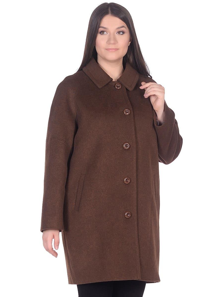 Женское демисезонное пальто hr-010 коричневое фото-2