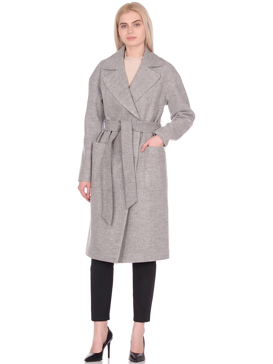 Женское демисезонное пальто hr-002 светло-серое фото-1