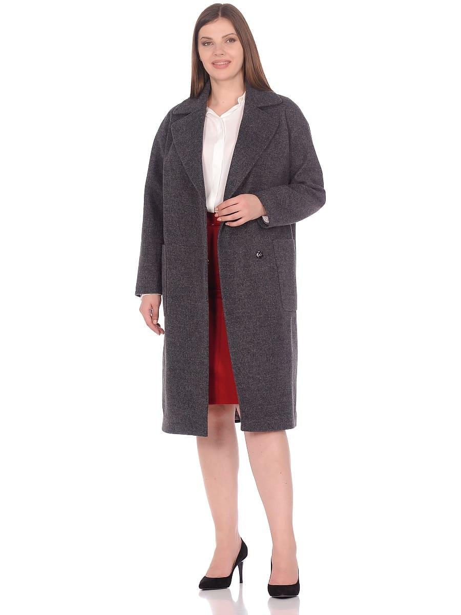Женское демисезонное пальто hr-002 серое фото-1