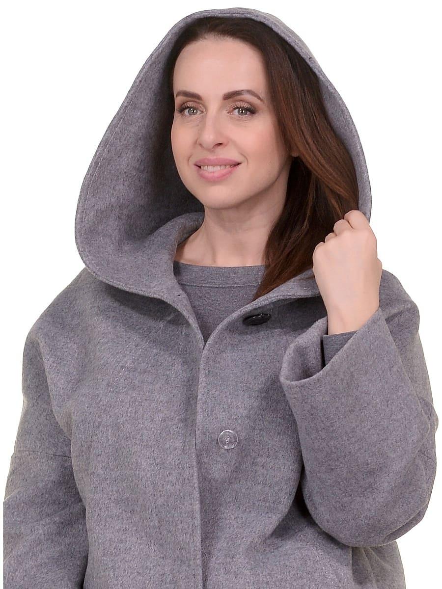 Женское демисезонное пальто hr-011 серое фото-4