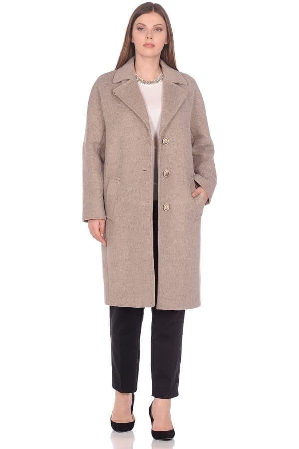 Женское демисезонное пальто hr-012 бежевое фото-1