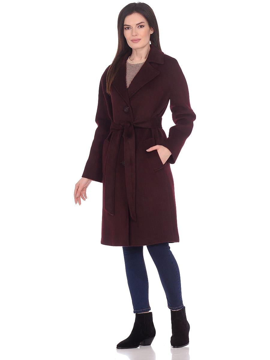 Женское демисезонное пальто hr-012 вишневое фото-1