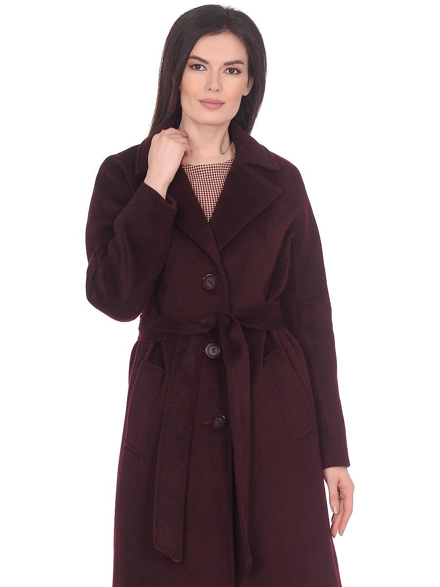 Женское демисезонное пальто hr-012 вишневое фото-2