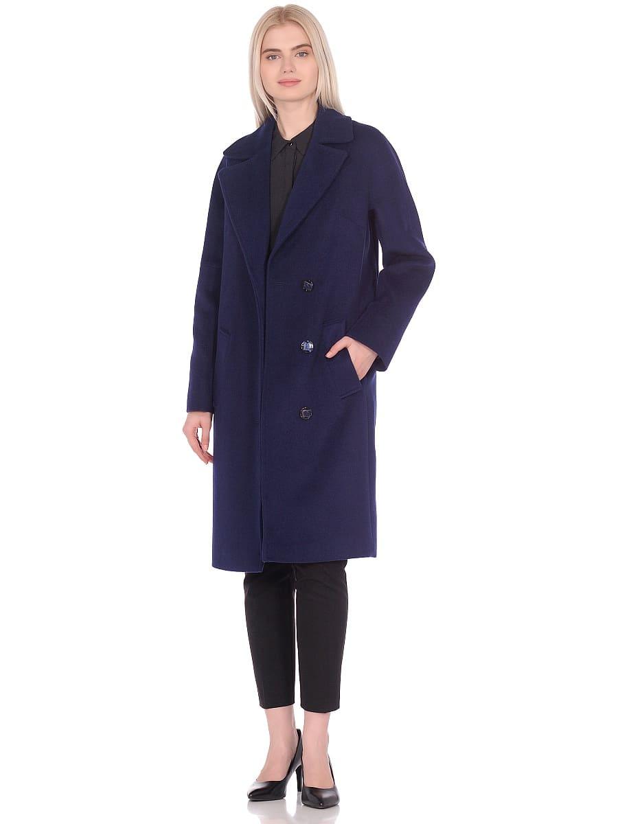 Женское демисезонное пальто hr-012 синее фото-1