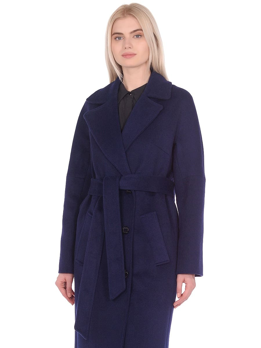 Женское демисезонное пальто hr-012 синее фото-2