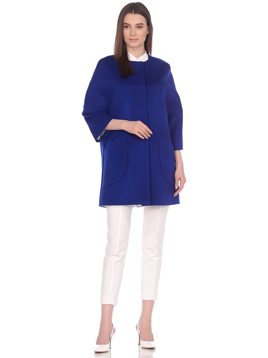 Женское демисезонное пальто hr-019 синее фото-1