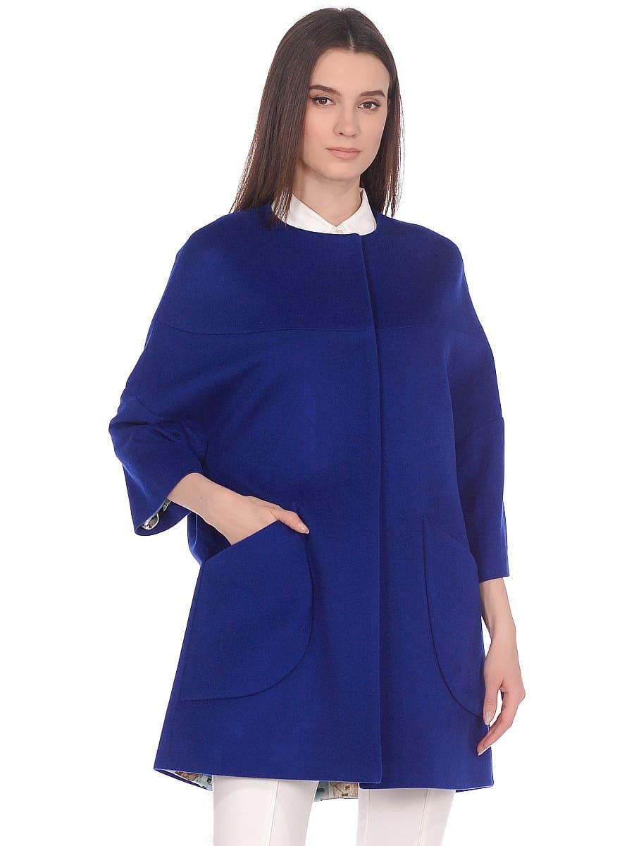 Женское демисезонное пальто hr-019 синее фото-2