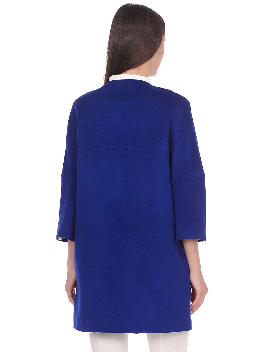 Женское демисезонное пальто hr-019 синее фото-3