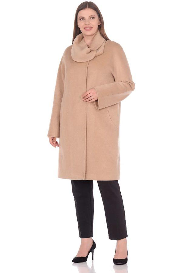 Женское демисезонное пальто hr-021 бежевое фото-1