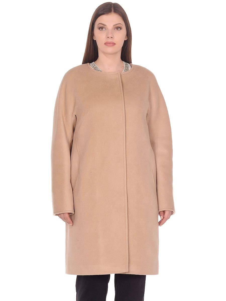 Женское демисезонное пальто hr-021 бежевое фото-2