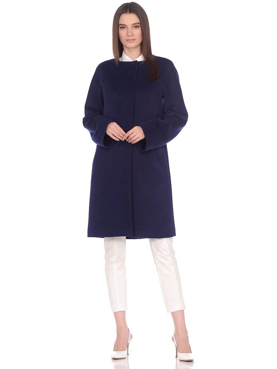 Женское демисезонное пальто hr-021 синее фото-1