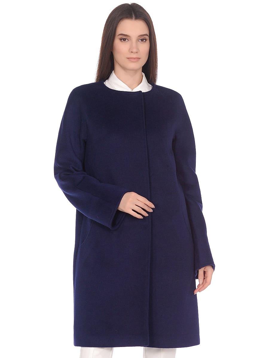 Женское демисезонное пальто hr-021 синее фото-2