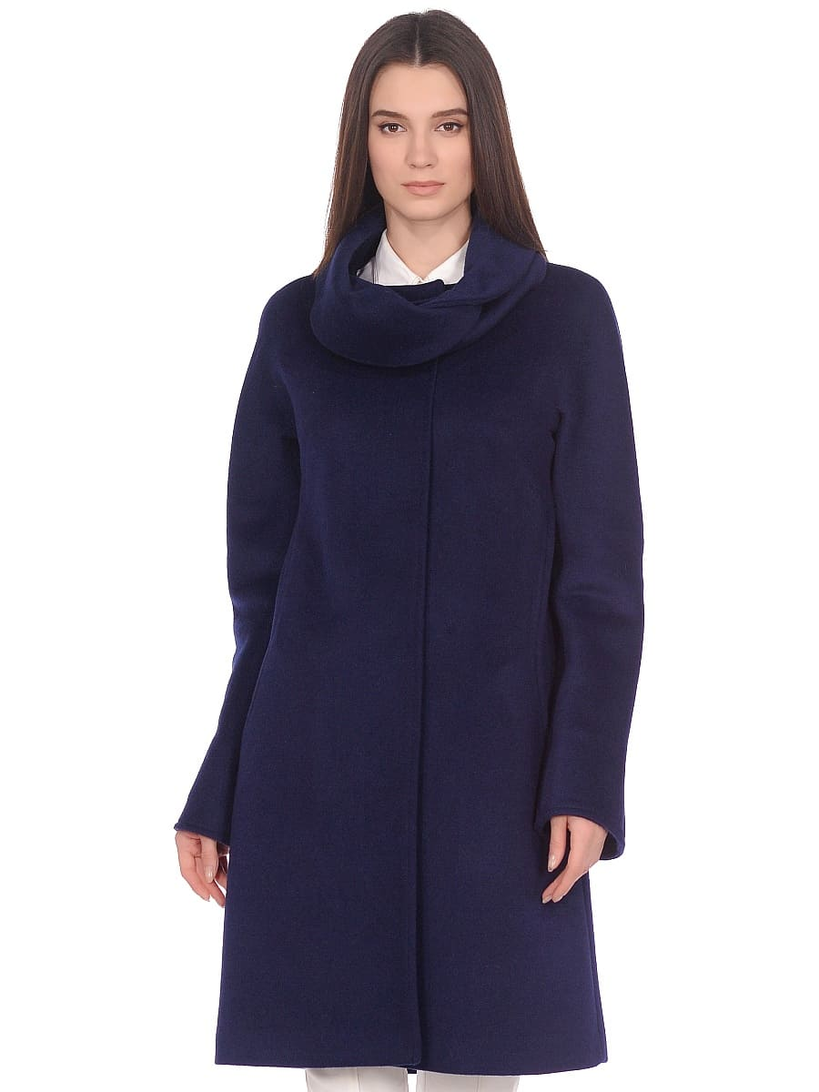 Женское демисезонное пальто hr-021 синее фото-4