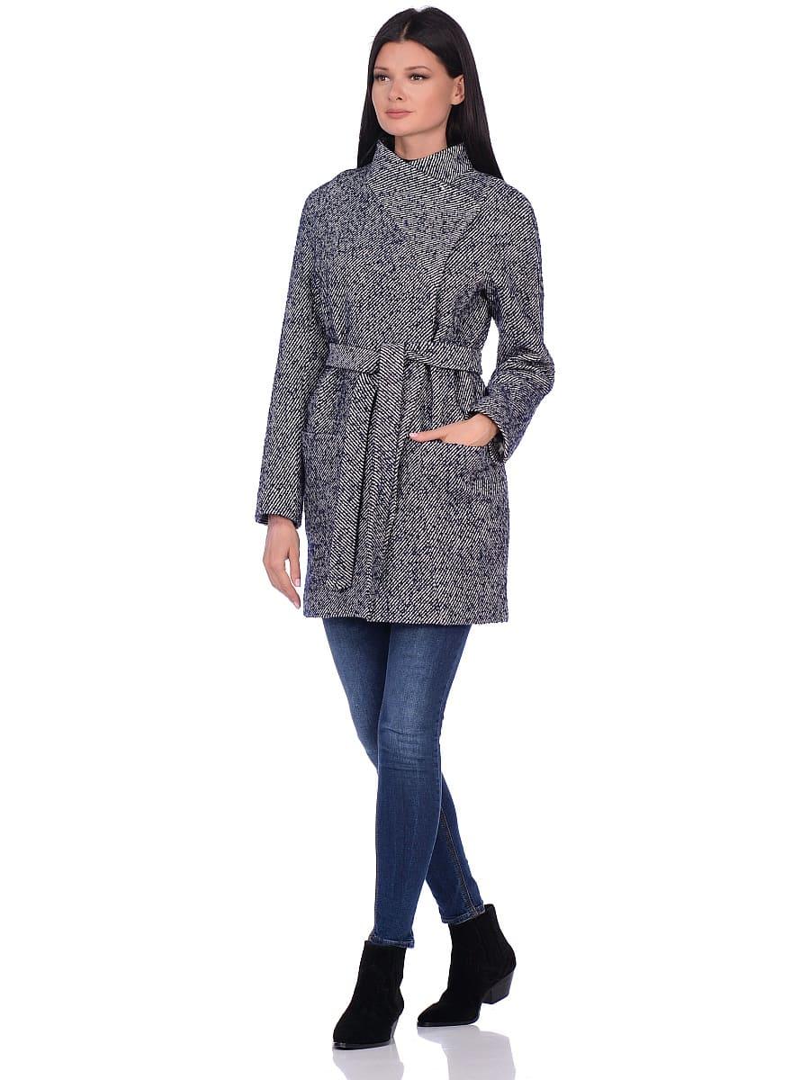 Женское демисезонное пальто hr-022 синее фото-1