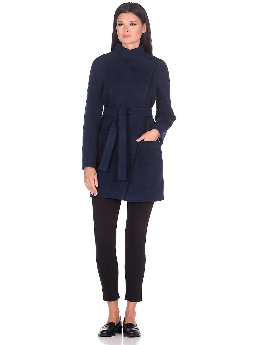 Женское демисезонное пальто hr-022a синее фото-1