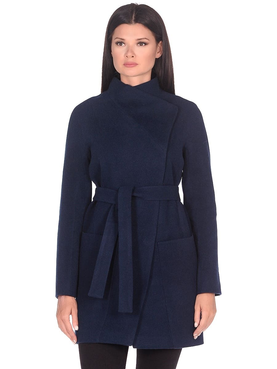 Женское демисезонное пальто hr-022a синее фото-2