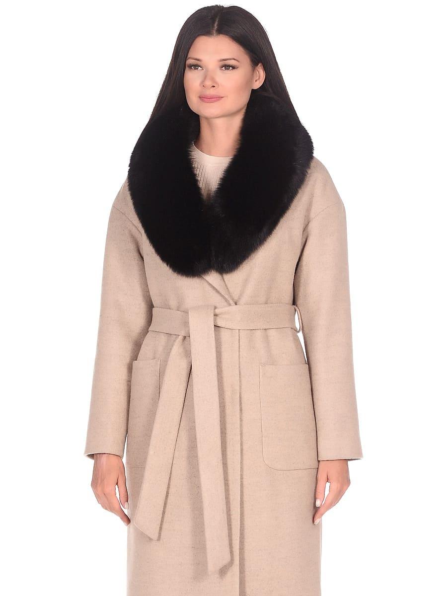 Женское зимнее пальто hr-009 бежевое фото-2