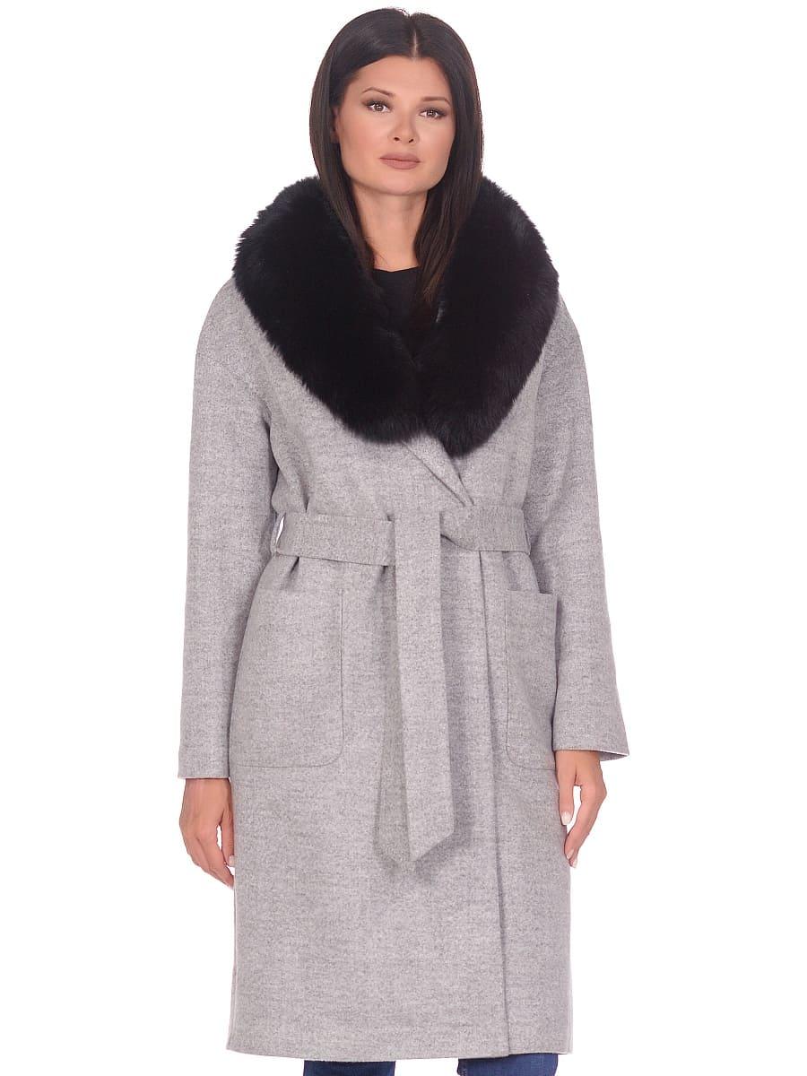 Женское зимнее пальто hr-009 светло-серое фото-2